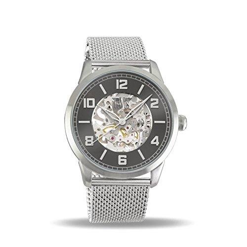 Davis Reloj Esqueleto para Unisex Adultos de Mecánico con Correa en Acero Inoxidable 2160