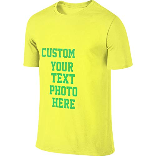 100% Baumwolle Herren T-Shirt Sommer Kurzarm T-Shirt - Anpassbares doppelseitiges T-Shirt(Yellow 4XL) -