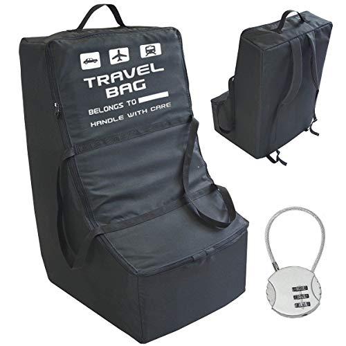 Premium Qualität Kindersitz Transporttasche Größe 80x45x45 cm Reisetasche Rucksack Flughafen beim Einchecken Tragetasche Transportrucksack für Kinderautositze Schwarz Kostenloses Vorhängeschloss [085]