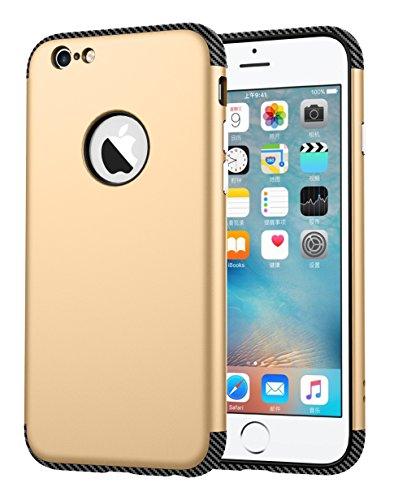 iPhone 6 Hülle, Oceanhome 2 in 1 Hart PC + TPU Case Cover Klassik Sport Schutz Schutzhülle [Stoßdämpfung] Carbon Faser Ladekantenschutz Anti Sturz Smart Phone Case für Apple iPhone 6 4.6 Hülle ( Rose  Gold