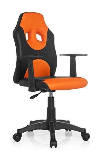 Orange Stoff Mit Einem Ergonomischen Stuhl (hjh OFFICE 670810 Kinderdrehstuhl KID RACER AL Kunstleder Schwarz/Orange Kinder-Schreibtischstuhl Stuhl mit Armlehne, höhenverstellbar)