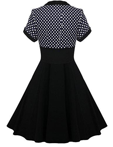 CRAVOG Damen Vintage Rockabilly Cocktailkleid Partykleid Polka Dots Abendkleid Dunkelblau