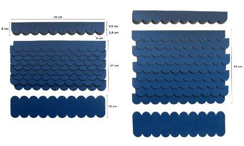 Preisvergleich Produktbild Mini Dachschindeln, Blau, Dachpappe, Vogelhäuser, Kaninchenstall, Holzgestell, Betonsäulenüberdeckung, Sandkastendächer, Hundehütte, Briefkastendächer