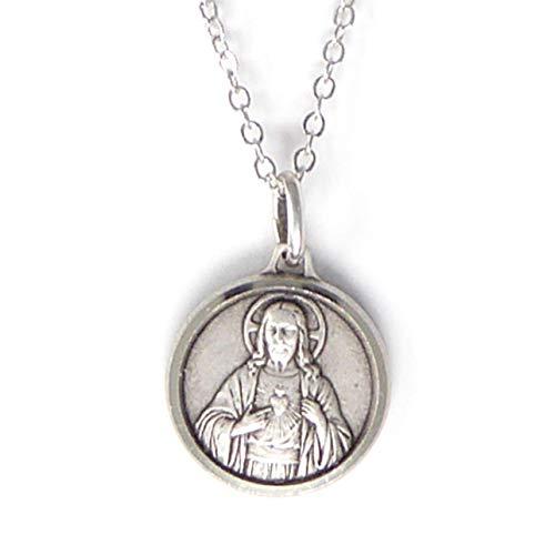 """Plateado Caja Regalo Del Sagrado Corazón de Jesús Redondo 1.8cm Medalla y 18"""" Collar Católica"""