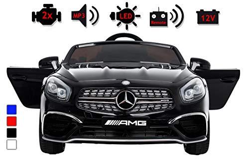 Kinderelektroauto - Mercedes SL 65 AMG - 2 Motoren - Kinderfahrzeug Lizenz + Fernbedienung -Schwarz