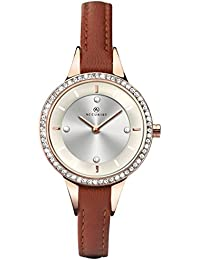 Accurist Women's Quartz Watch with Silver Dial Analogue Display and Brown Leather Strap 8043.01