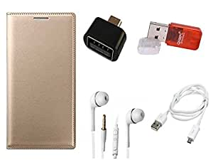OPPO NEO 7 Golden Premium Leather Wallet Flip Case Cover, Ear Phone, USB Data Sync Cable OTG Adaptor, Micro SD Card Reader By SEC®