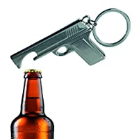 Kenzies Gifts Practical & Useful - Metal Gun Key Chain Ring With Bottle Opener - Perfect Stocking Filler, Christmas Xmas, Secret Santa Gift Present Idea - One Supplied