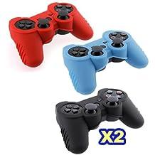 TOOGOO(R) Funda Carcasa de Silicona para PS3 Gamepad Controlador - Rojo Negro Azul