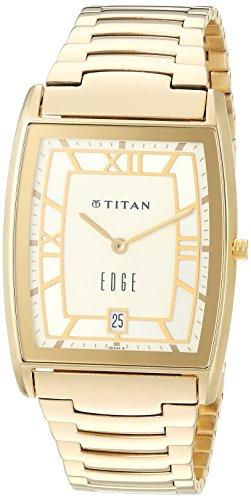 Titan Men's 'Edge' Quartz Stainless Steel Dress Watch, Color:Gold-Toned (Model: 1684YM01)