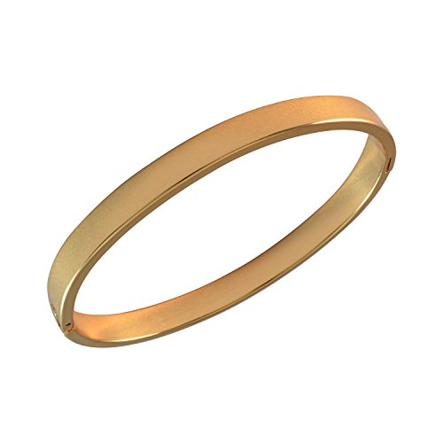 Sarah Plain Oval Openable Bangle for Women - Gold