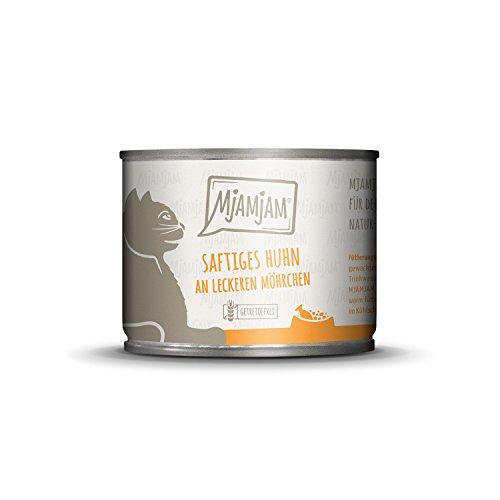 MjAMjAM - Premium Nassfutter für Katzen - saftiges Huhn an leckeren Möhrchen, 6er Pack (6 x 200 g), getreidefrei mit extra viel Fleisch
