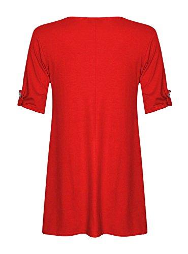 Fast Fashion - D'oscillation Robe Plus La Taille Tourner Les Manches De La Bouton -Femmes Rouge