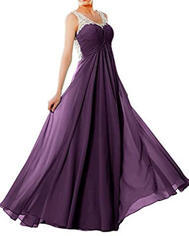 MACloth Women Straps V Neck Chiffon Lace Long Prom Dress Formal EveningBall Gown (56, Eggplant)