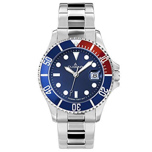 Dugena Herren Quarz-Armbanduhr, Schraubkrone, Wasserdicht bis 30 bar, Diver, Silber/Blau/Rot, 4460774