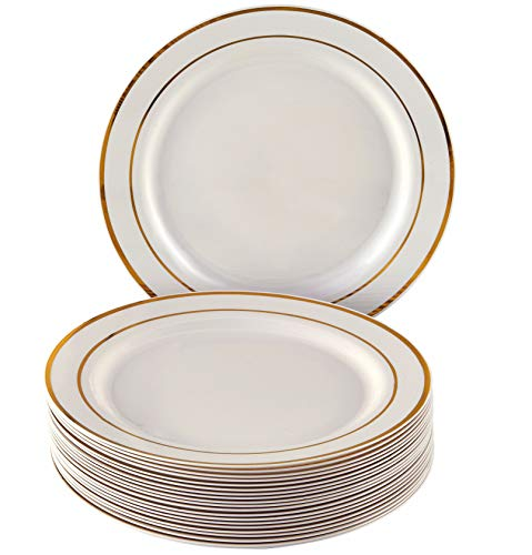 MODERNES EINWEGGESCHIRR-SET (20 Teile) | 20 Salat/Dessert-Teller | robustes Kunststoffgeschirr | eleganter Look | für gehobene Hochzeiten und Speisen (Golden Glare ()