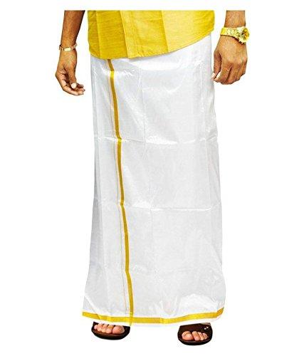 e869d16ec259d5 CMK Pattu Men s Silk Dhoti (003 White) - IndyaGadgets.com