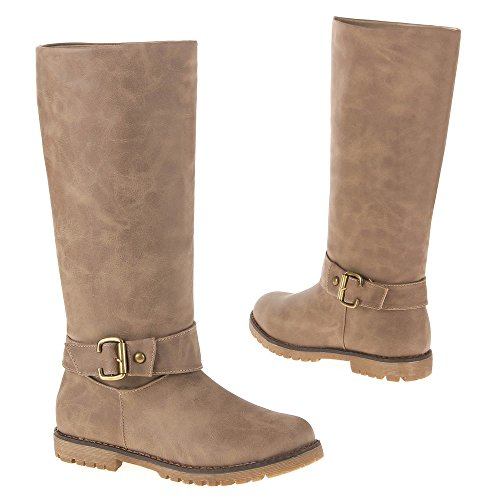 ... STIEFEL Damenschuhe BOOTS LEDER OPTIK SCHNALLEN Farben: Beige Schwarz  Camel Braun Größen: 36 37