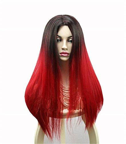 Europa und die Vereinigten Staaten High-End-Mode Schwarz und Rot Farbverlauf Farbe Temperament Lange gerade Haar Hochwertige Hitze-resistent Synthetische (Styling Eine Perücke Synthetische)