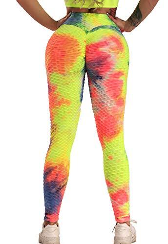 FITTOO Mallas Pantalones Deportivos Leggings Mujer Yoga de Alta Cintura Elásticos y Transpirables para Yoga Running Fitness Colorido M