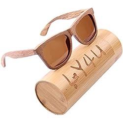 LY4U de madera para hombre y gafas de sol para mujer, gafas Vintage, gafas de sol flotantes con caja de bambú (Marrón)