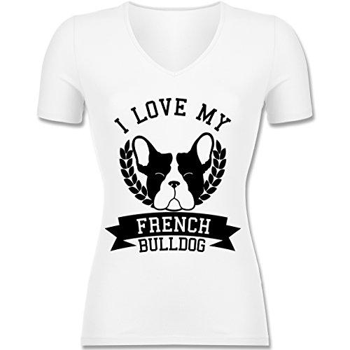 Shirtracer Hunde - I Love My French Bulldog - Tailliertes T-Shirt mit V-Ausschnitt für Frauen Weiß