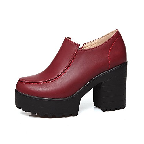 AllhqFashion Femme Couleur Unie Pu Cuir à Talon Haut Rond Zip Chaussures Légeres Rouge Vineux