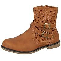 Yinka Shoes Girls Kids Ladies Faux Leather Tan Chelsea Zip Flat Casual Buckle Biker Ankle Boots Size 11-4 (1 UK, Tan)