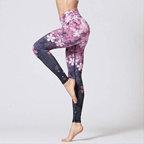 LHDT 3D Digital Gedruckt Yoga Leggings Frauen Flexible Hohe Taille Fitness Sport Capri Hosen Plus Größe Jogging Strumpfhosen S-XL L Sakura Hosen,Sakura Trousers,L