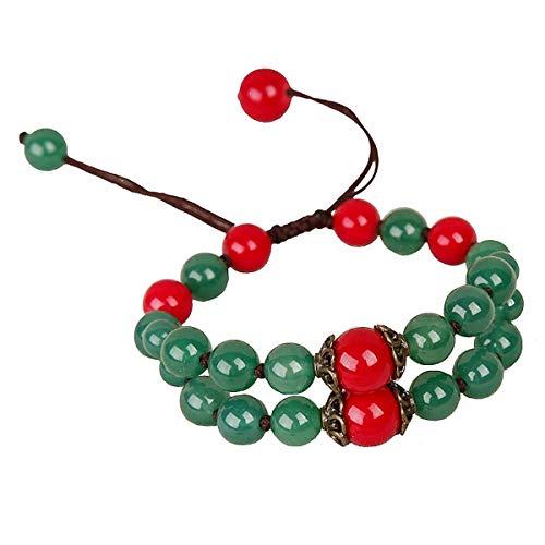 WFYJY-Rote Perlenbesetzten Armband Retro Geflochtenen Taschentuch Nationalen Stil Achat Granat Streicher Persönlichkeit Passt Zubehör Geschenke