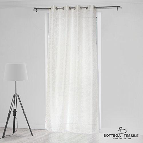 Bottega tessile tenda per interni mod. costanza,modern style - mis. 140 x 280 - colore beige - doppio velo - tessuto stampato devorè