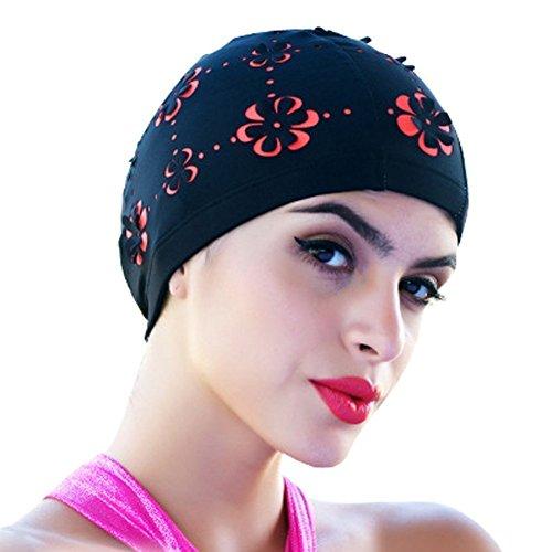 medifier ausgestanztes Blumen Schwimmen Badekappe für kurze und lange Haar Hat, schwarz -