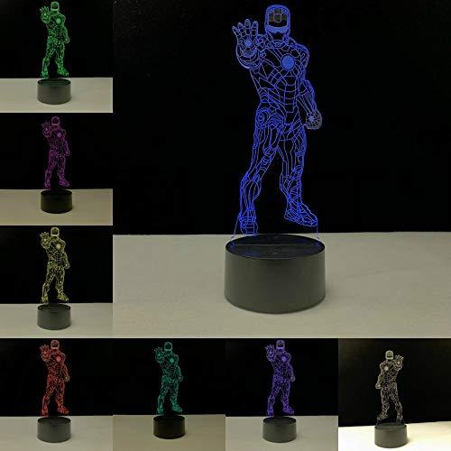 Iron Man Series 3D Lamp Novel Cartoon Night Light Gift Spuer Hero LED Multicolor Home Decorative Desk Table Lighting Christmas@Iron Man 10_Iron Man 7_Tippen Sie auf Option -