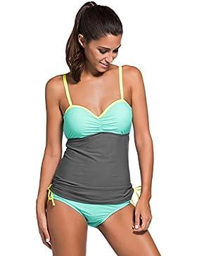 Nuovo da donna grigio & azzurro colore blocco Tankini 2PCS costumi da bagno Beachwear estate taglia L UK 12EU 40