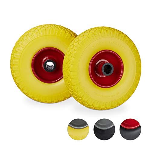 Relaxdays Sackkarrenrad Set, pannensicher, 3.00-4 Vollgummireifen, Stahlfelge, 25mm Achse, 150kg, 260x85mm, gelb-rot (26 Zoll-räder-felgen)