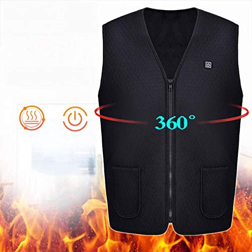 Yaoaomon Men Charging Heated Vest Outdoor Sleeveless Vest Winter Thermal Clothes Black 4XL -