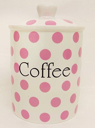 Pink Spots Kaffee Kanister Fine Bone China Pink Aufbewahrung Kaffeedose Hand verziert in...