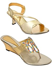 Altek Golden Colored Resin Cone,Wedges For Women (Pack Of 2) (15201_2_1319_13209_GLD)