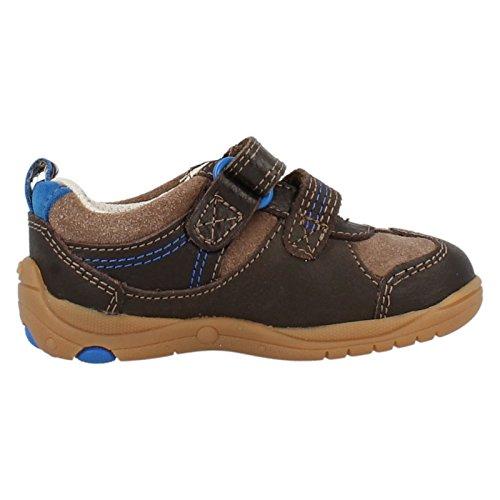 Clarks Ru Rocks Boys Velcro Fastening Casual Shoes 4 F Brown Combi