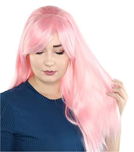 Prettyland Volumen Lang-Haar glatte Perücke mit Zopf hell-Rosa C126 (Rosa Mit Perücke Halloween-kostüm)