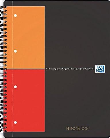 Oxford International Filingbook cahier A4+ 4 sections couverture rigide 200p petits carreaux 5x5