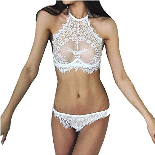 rmellose Weste Tops T-Shirt BlouseTransparent Versuchung Dessous Spitze Blumen Push Up BH Hosen Unterwäsche Set ()