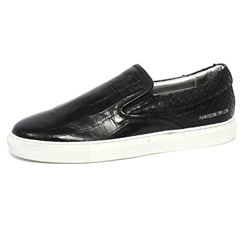 B1084 sneaker uomo P448 E5 SLIPON scarpa nera shoes men Nero