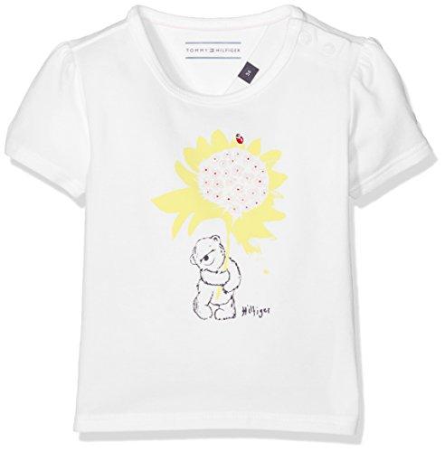Tommy Hilfiger Mädchen T-Shirt Flower Baby Girl Tee S/S Weiß (Classic White 100), 56 -
