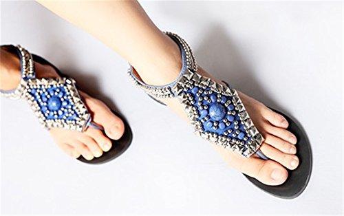 Fortuning's JDS I nuovi sandali cinghia vestito piatto perline comodi alla moda per le donne Blu