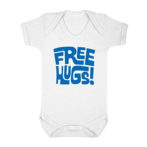 FLOSO - Body con Scritta in Inglese Free Hugs - Neonati (18-24 mesi) (Bianco)