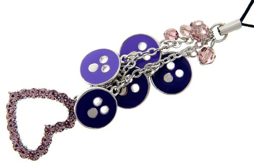 Great Christmas or Budget Gift Idea. Pink & Purple Heart Mobile & Bag Charm, Pink Swarovski Crystals Embedded in a Heart Shaped Rhodium Plated Setting with Purple Enamel Circles & Pink Beads Rubin-ring Mit Rose Gold