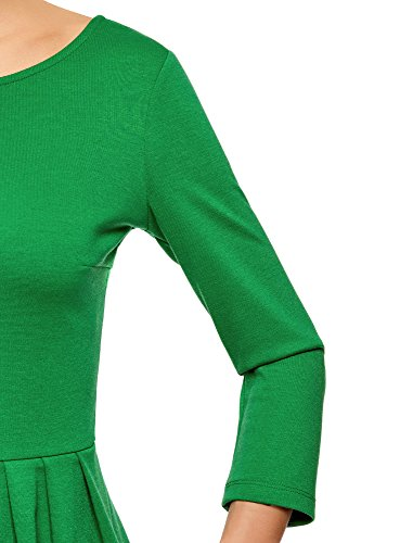 oodji Ultra Damen Tailliertes Jersey-Kleid Grün (6E00N)