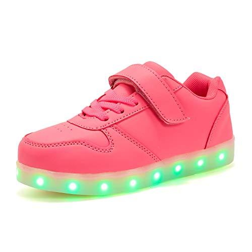 Licy Life-UK Kinder Junge Mädchen 31 Farbe USB Aufladen LED Schuhe Leuchtend Sportschuhe Farbwechsel Sneaker Turnschuhe für Junge Mädchen Geburtstagsgeschenk