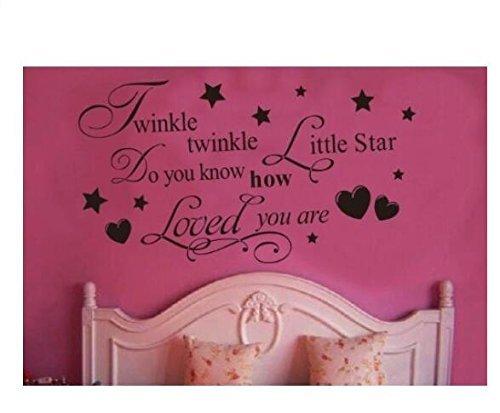 (Xiton Twinkle Little Star Wissen Sie, wie geliebt - für Mädchen oder Jungen-Raum-Kind-Baby Nursery - Vinyl Wandtattoo, Schrift Art Letters Dekor)